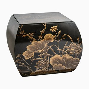 Vintage Chinese Black & Gold Hand-Painted Lacquered Stool