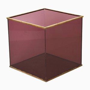 Plexiglass & Brass Cube Magazine Rack, 1970s