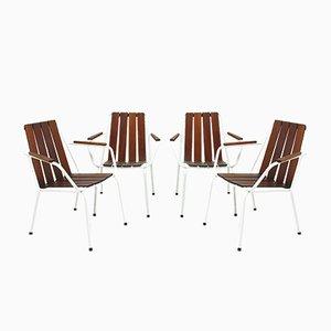 Dänische Gartenstühle mit Gestell aus Teak, 1960er, 4er Set