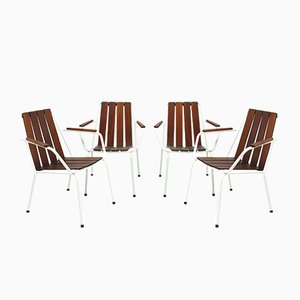 Danish Teak Garden Chairs, 1960s, Set of 4