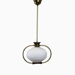 Lampada da soffitto in ottone e vetro opalino, anni '50