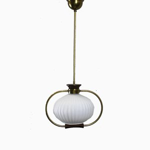Opaline Glass & Brass Ceiling Lamp, 1950s