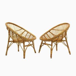 Vintage Sessel aus Korbgeflecht, 1970er, 2er Set