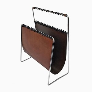 Chromed Steel and Leather Magazine Rack, 1970s