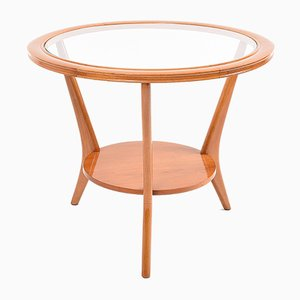 Tavolino da caffè vintage in vetro e legno, Italia, anni '50