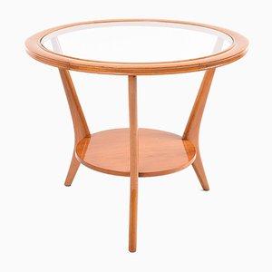 Vintage Italian Glass & Wood Coffee Table, 1950s