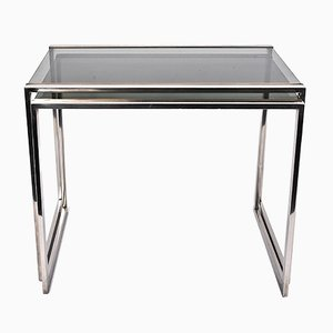 French Metal, Brass & Smoked Glass Nesting Tables, 1970s