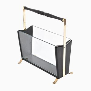 Vintage Italian Brass, Wood & Glass Magazine Rack, 1950s