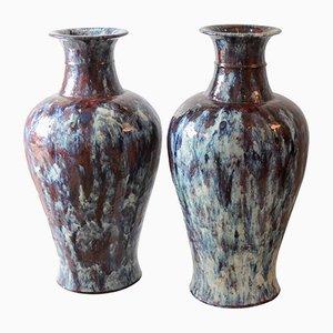 Glasierte chinesische Vintage Keramikvasen, 1920er, 2er Set