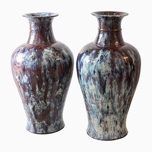 Vintage Chinese Glazed Ceramic Vases, 1920s, Set of 2