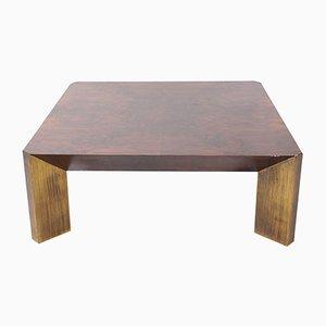 Tavolino da caffè vintage in legno di noce e ottone, anni '60