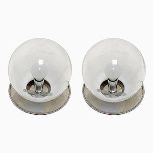 Lampade da tavolo sferiche vintage in vetro soffiato, set di 2