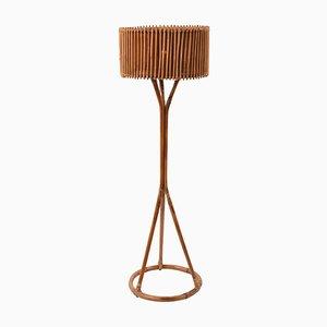 Lampada da terra Mid-Century in bambù e vimini, Italia, anni '60