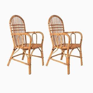Mid-Century Bamboo & Wicker Chairs, 1960s, Set of 2