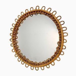 Mid-Century Italian Rattan & Bamboo Round Mirror, 1950s