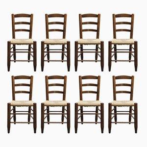 Französische Vintage Stühle mit Holzgestell & Sitz aus Strohgeflecht, 1950er, 8er Set