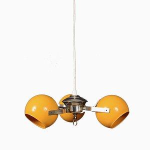 Lampada da soffitto vintage gialla in metallo cromato, Italia, anni '70