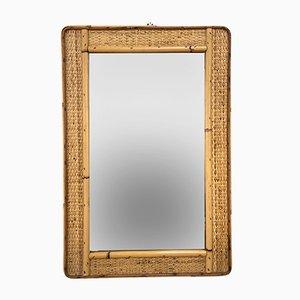 Specchio rettangolare in bambù e vimini, anni '70