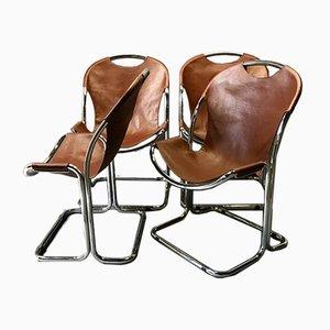 Stühle aus Skai & Chrom, 1970er, 4er Set