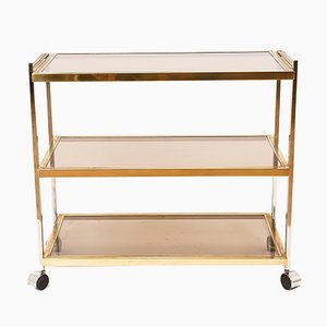 Vintage Glass, Brass, & Chrome Bar Cart by Romeo Rega