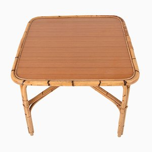 Italian Square Bamboo Table with Laminate Top, 1960s