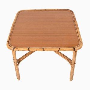 Tavolo quadrato in bambù con ripiano in laminato, Italia, anni '60