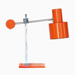 Swedish Chromed & Orange Lacquered Adjustable Table Lamp from ASEA, 1960s