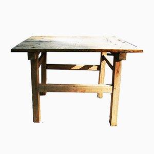 Mesa de trabajo rústica de castaño, años 50