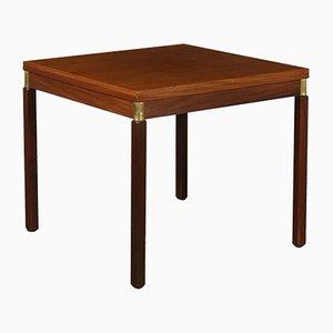 Vintage Italian Teak Veneer & Brass Extendable Table, 1960s