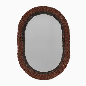 Oval Italian Rattan Wicker Wall Mirror, 1970s