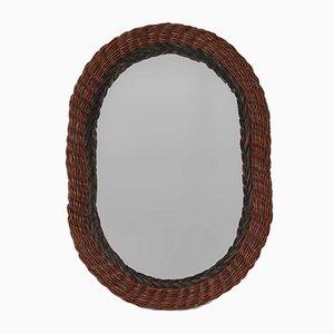 Specchio a muro ovale in vimini, Italia, anni '70