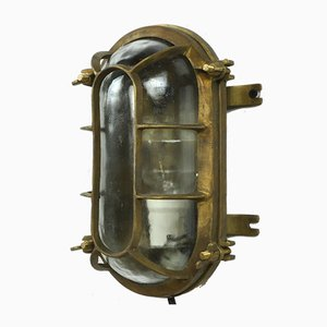 Industrial Brass Nautical Ship Light, 1950s