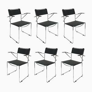 Stackable Steel & Leather Armchairs by Giandomenico Belotti, 1970s, Set of 6