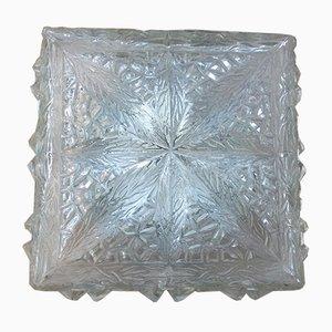 Lámpara de pared o techo de vidrio moldeado, años 60