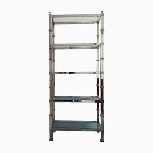 American Tall Chromed Steel & Gilt Freestanding Shelves, 1970s
