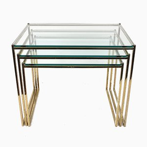 Brass and Glass Nesting Tables, 1970s