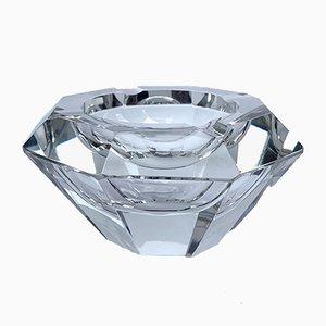 Cuenco de cristal de Murano facetado de Flavio Poli para Seguso, años 60
