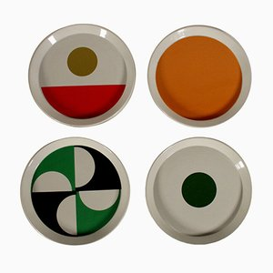 Vintage Italian Glazed Ceramic Plates by Gio Ponti, 1967, Set of 4