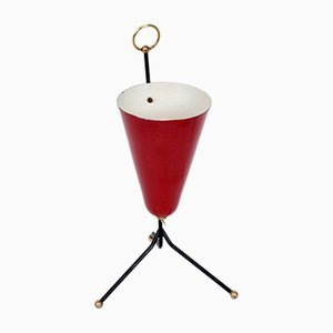 Italian Red Lacquered Metal and Brass Conical Table Lamp, 1950s