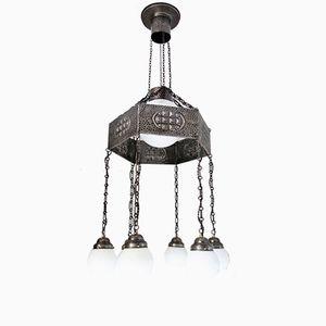 Large Antique Art Nouveau Ceiling Lamp