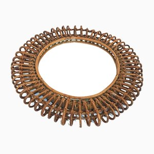Mid-Century Modern Italian Round Rattan Wall Mirror by Franco Albini, 1970s