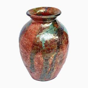 Vaso sardo in ceramica policromata di Claudio Pulli, anni '70