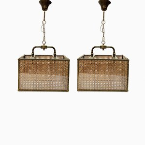 Italian Brass, Wicker, & Glass Pendant Lamps, 1950s, Set of 2