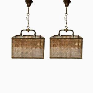 Lampade in ottone, vimini e vetro, anni '50, set di 2