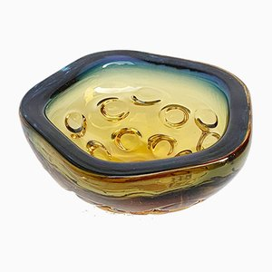 Blue & Amber Glass Bowl or Ashtray, 1960s