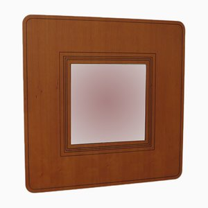 Vintage Wooden Square Wall Mirror, 1980s