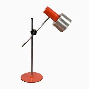 Lámpara de mesa ajustable de metal naranja y aluminio de Stilnovo, años 60