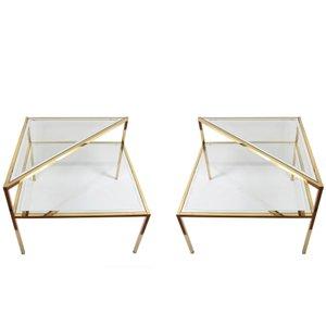 Tavoli in vetro e ottone a due ripiani, anni '70, set di 2