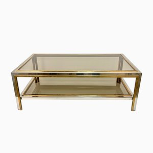 Brass and Chrome Coffee Table by Romeo Rega, 1970s