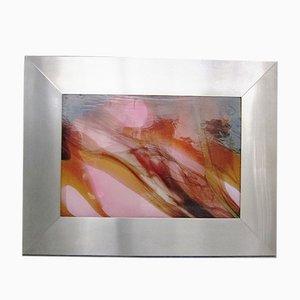 Panel iluminado grande de acero inoxidable y vidrio, años 70